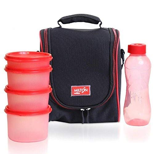 ET of 6 ~ Insulated Lunch Box With Reusable and Leak Proof Containers and Water Bottle Double Zipper Lunch Bag For Adults and Kids ~Great for School~ Black ()