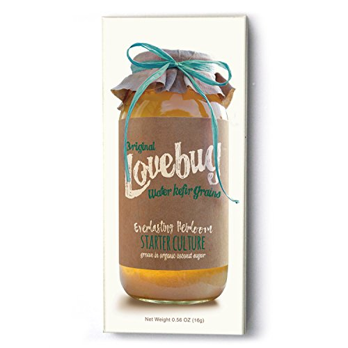 Water Kefir Grains by Lovebug | Live Organic Starter Culture Kit | Make 1/2 gallon carbonated water kefir or coconut kefir - forever!