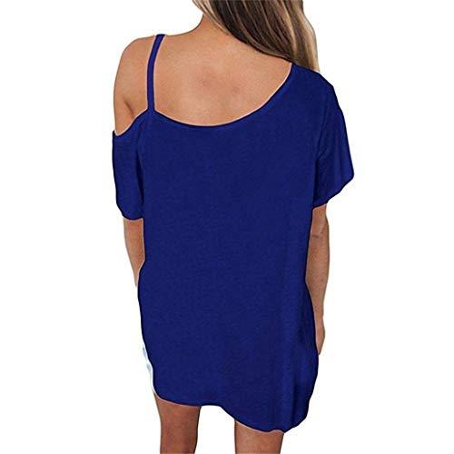 Courtes Manche Vetement Epaule Chemise Casual Unique fashion Nues Femme Sling Et lgant Une Blau Shirts Basic Chemisiers Shirt HX paules Uni Manches Branch Mode naOBqxpww8