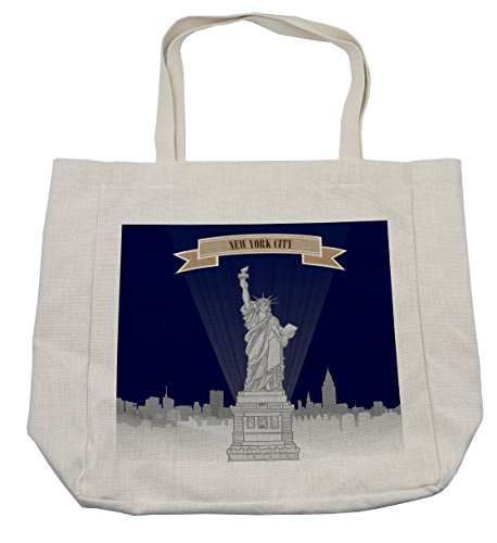 Lunarable USA Shopping Bag, New York City Silhouette with Greyscale Statue of Liberty on Blue Background, Eco-Friendly Reusable Bag for Groceries Beach Travel School & More, ()