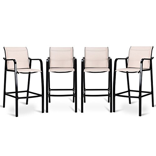 Adumly Set of 4 PCS Counter Height Stool Patio Chair Steel Frame Leisure Dining Bar Chair
