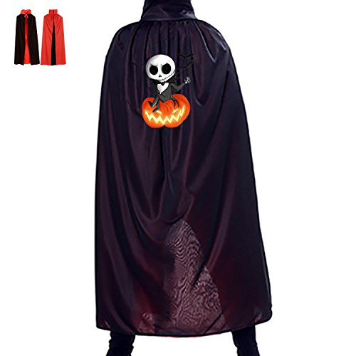 Hallowmas Witch Accessory Mantle Reversible Costumes Print With Gentleman Skull For Kids Cosplay In Fancy Dress (Black)