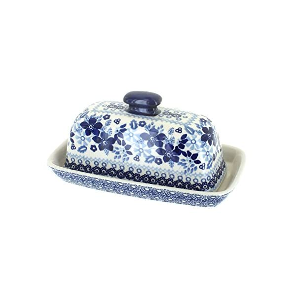 Blue Rose Polish Pottery Vintage Blue Daisy Butter Dish