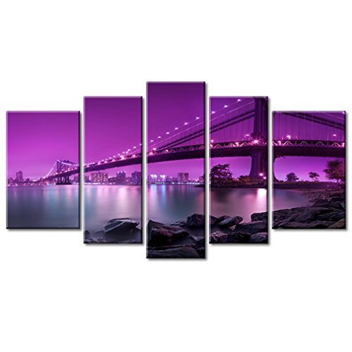 Amesi 5 Panels Canvas Wall Art Black and White New York City Picture Printed on Canvas Artwork for Living Room Home Decor Stretched and Framed Ready to Hang Purple Brooklyn Bridge 5 Panels