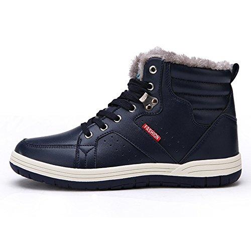 antiscivolo Sneakers alto da 48 Juleya invernali tacco Blu 39 con Scarpe da Stivali skateboard pelliccia casual uomo Stivali alte neve esterno Sneakers in pelle in Foderato calda da da Rptp64