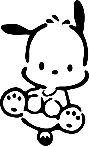 "POCHACCO DOG SITING SANRIO VINYL STICKERS SYMBOL 5.5"" DECORATIVE DIE CUT DECAL FOR CARS TABLETS LAPTOPS SKATEBOARD - BLACK COLOR"