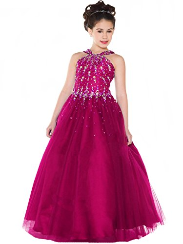 Aisha Girls' Beads Pageant Dresses V Neck Birthday Party Ball Gown 10 US Fushcia by Aisha