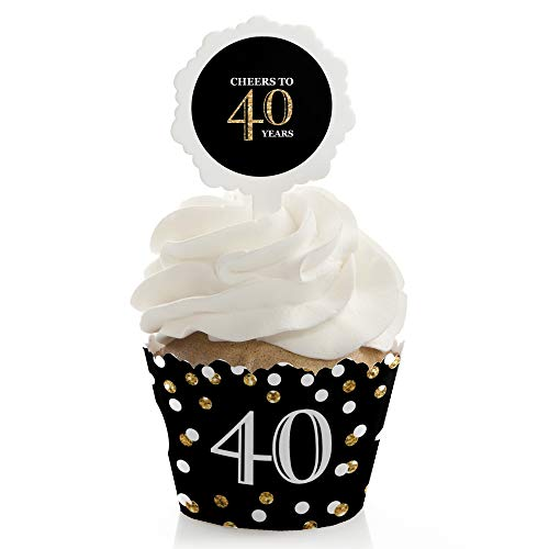 (Adult 40th Birthday - Gold - Birthday Cupcake Wrapper and Pick - Cupcake Decorating Kit - Set of 24)