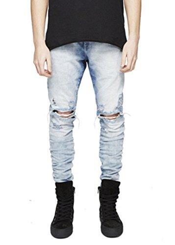Men's Biker Skinny Distressed Ripped Slim Washed Denim Jeans (Skinny Jeans Fashion Men)