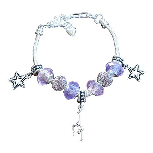 Gymnastics Charm Bracelet- Girls Gymnastics Jewelry- European Style Snake Chain Bracelet- Perfect Gymnast Gift ()