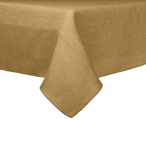 Ultimate Textile -2 Pack- Faux Burlap - Havana 60 x 120-Inch Rectangular Tablecloth - Basket Weave, Camel Brown -