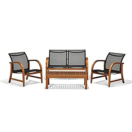 Amazonia 4 Piece Manhattan Eucalyptus Deep Seating Set