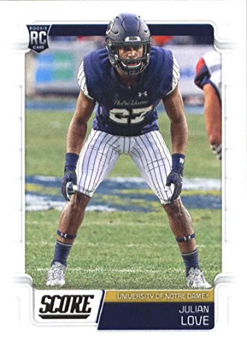 2019 Score Football #376 Julian Love Notre Dame Fighting Irish Rookie Official NFL Trading Card From Panini Giants