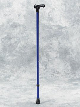 Adjustable Aluminum Cane, Left Handed - Epoxy-coated orthopaedic cane with ergonomic left hand grip. Height adjustable with a single push-button grip to floor from 32'' to 39'' (81 cm. to 99 cm.). Comes fitted with model T05 rubber tip. Available in 7 color by King Products