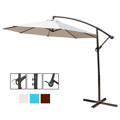 HollyHOME 10 Ft Patio Umbrella Offset Hanging Umbrella Outdoor Market Garden Umbrella with Cross Base, Beige