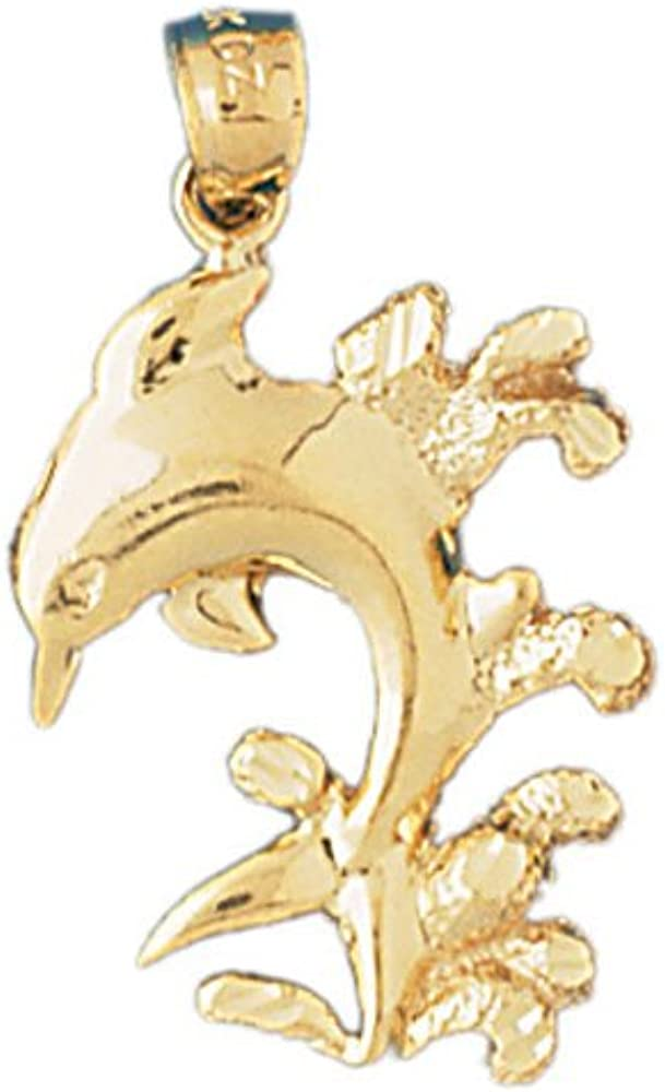 17mm x 25mm 14k Yellow Gold Dolphin with Coral Pendant