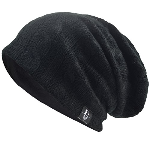 Men's Cool Cotton Beanie Slouch Skull Cap Long Baggy Hip-hop Winter Summer Hat (Cable-Black) Designed Beanie