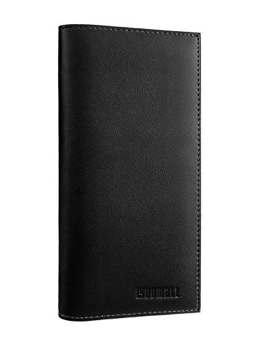 YOOMALL Leather Checkbook & Register Cover Case Slim Wallet Credit Card Holder (Black)