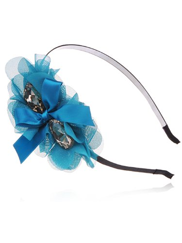 Alilang Sea Sky Blue Ribbon Gift Mesh Nest Big Topaz Crystal Bead Fashion Hair - Ribbon Blue Topaz