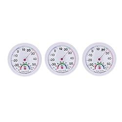 Blesiya 3pcs/set Clock Shape Analog Temperature Humidity Meter Thermometer Hygrometer