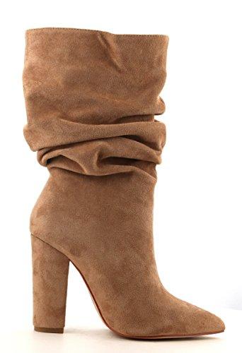 Cr Cape Robbin Beautiful64 Nude Suede Suede Puntige Neus Slouchy Middenkalf Mode Laarzen