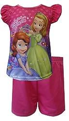 AME Sleepwear Little Girls' Sofia the First Princess Flutter Sleeve Pajama Short Set, Assorted, 3T