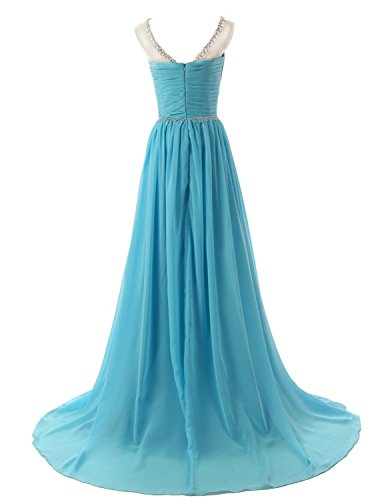 Evening Bess Bridal Formal Coral Back Beaded Dress V Chiffon Prom Women's Long rrwxqSRz