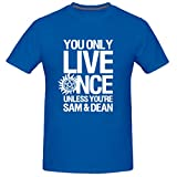 Vi-Fi Men's You Only Live Once Unless You're Sam and Dean Funny T-Shirt (Blue Small)