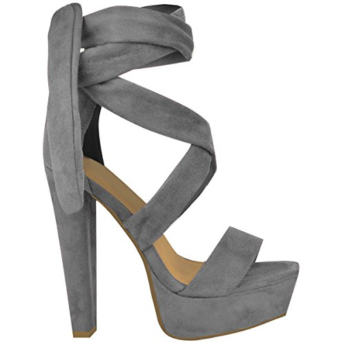 Fashion Thirsty Womens Tie Lace Up Ankle High Heels Block Platforms Party Open Shoes Size Grey Faux Suede 39x2d