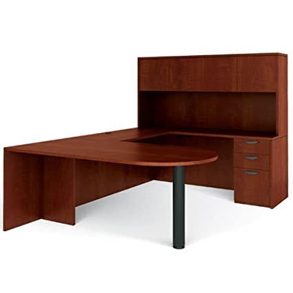 Offices To Go LAYOUTNADCL U Shaped D Island Management Desk, Credenza,  Overhead Hutch