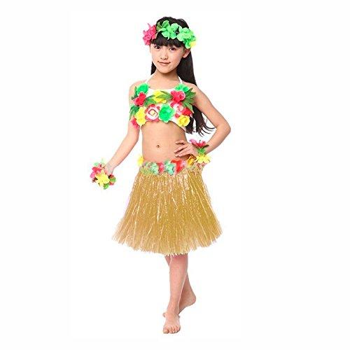 Falda Hawaiana Hula Infantil Natural (30 cm): Amazon.es: Juguetes ...