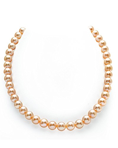 THE PEARL SOURCE 14K Gold 9-10mm AAA Quality Peach Freshwater Cultured Pearl Necklace for Women in 18