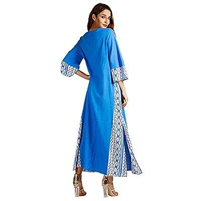 TOPUNDER Womens Maxi Dress Long Robe Muslim Fashion Ethnic Style Print Long Sleeve Party Dress