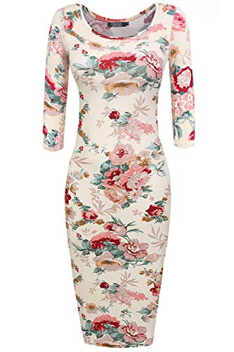 FISOUL Womens Floral Bodycon Dress 3/4 Short Sleeve Scoop Neck Sweetheart Midi Pencil Slim Fitted Dress Beige S (Dresses Boots Sweater)