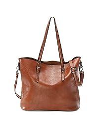 Zicac Women's Handbags Vintage PU Leather Tote Shoulder Bag Large Capacity Handle Satchel Handbags Crossbody Bag (Brown)