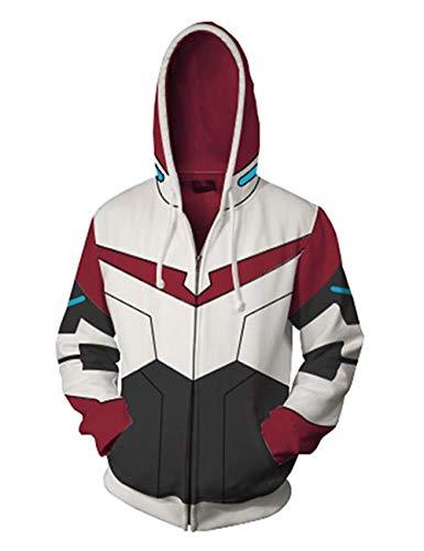Anime Hoodie Keith Cosplay 3D Printed Hoodies Lightweight Zipper Hooded Sweatshirt Jacket (Red,L)