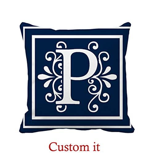 Goldaisy Outdoor Pillowcase Letter P Monogram Navy Blue White Pillow Covers 16 x 16inches -