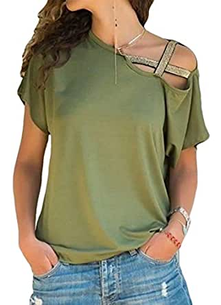 CRYYU Women Strappy Casual Cold Shoulder Short Sleeve T-Shirts Top Blouse Army Green 2XL
