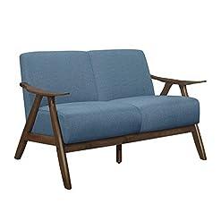 Farmhouse Living Room Furniture Lexicon Elle Loveseat, Blue farmhouse sofas and couches