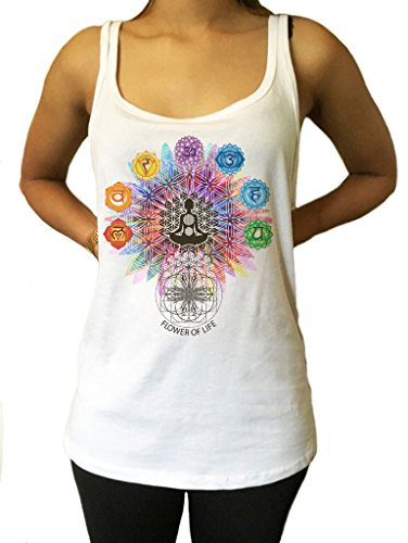 Irony Canotta in Jersey Flower Of Life Buddha Chakra Simboli Geometric Design JTK796