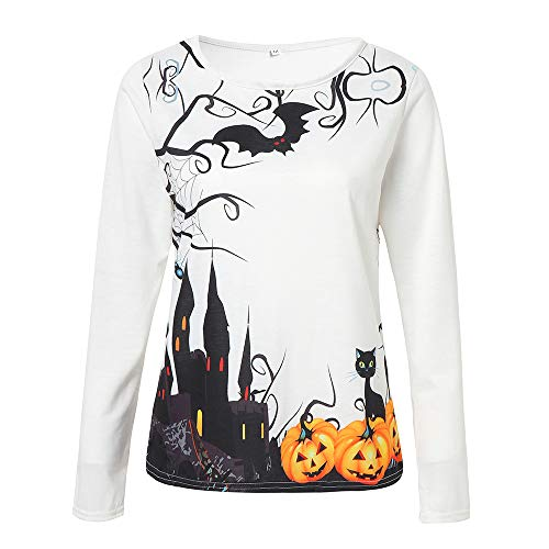 YOcheerful Womens Halloween Pumpkin Witch Long Sleeve Sweatshirt Shirt Tee Top (A,XS) -