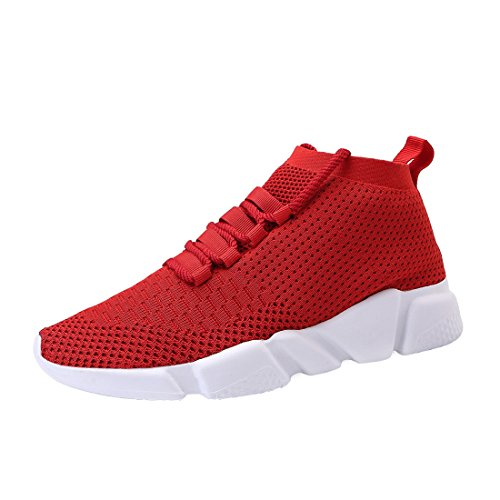 Mevlzz Mens Casual Athletic Sneakers Knit Running Shoes Tennis Shoe for Men Walking Baseball Jogging Red44