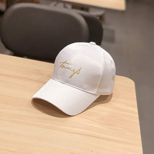 (Wild Hipster hat Embroidered Silk Baseball Cap Adjustable White Grass Embroidery Adjustable White Grass Embroidery)