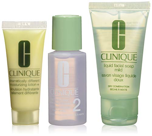 Clinique 3 Steps Travel Size Set for Very Dry to Dry Combination Skin, Liquid Facial Soap Mild (1 oz) + Clarifying Lotion 2 (1 oz) + Dramatically Different Moisturizing Lotion+ (0.5 oz)