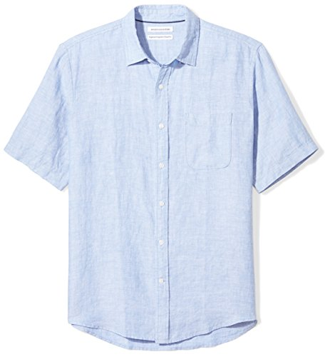 Mens S/s Shirt - Amazon Essentials Men's Regular-Fit Short-Sleeve Linen Shirt, Blue, Small