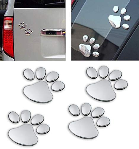 - LZLRUN 3D Chrome Dog Paw Footprint Sticker Decal Auto Car Emblem Decal Decoration (Silver)
