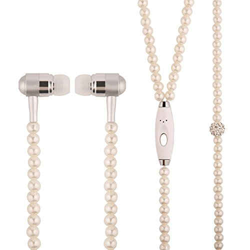New Fashion Women Girl Rhinestone Jewelry Design Pearl Necklace Earphones,Super Bass HIFI Wired Earbuds Headphones with Mic Stereo Sound Music Earpiece for IOS and Android Smartphone (pink)