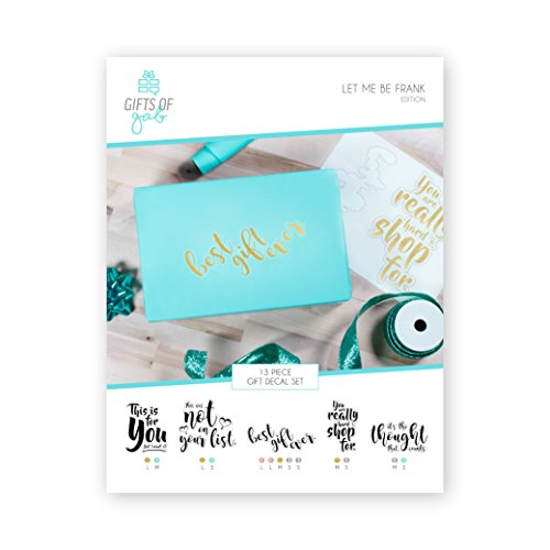 Gifts of Gab - Let Me Be Frank Edition | Gift Wrap Decal Sticker Set | DIY Stickers with Funny Phrases | Easy to Use Themed Gift Bags Stickers | Different Sizes & Color | Sassy Phrases