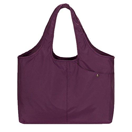 Volcanic Rock Waterproof Shoulder Shopping Bag Lightweight Totes Water-Resistant Nylon Large Capacity (Lightweight Zipper)