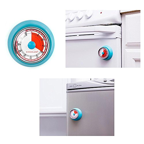 Kikkerland Timer - 1 Kikkerland Magnetic Kitchen Timer Rotary 55 Min Cooking Alarm Count down Blue
